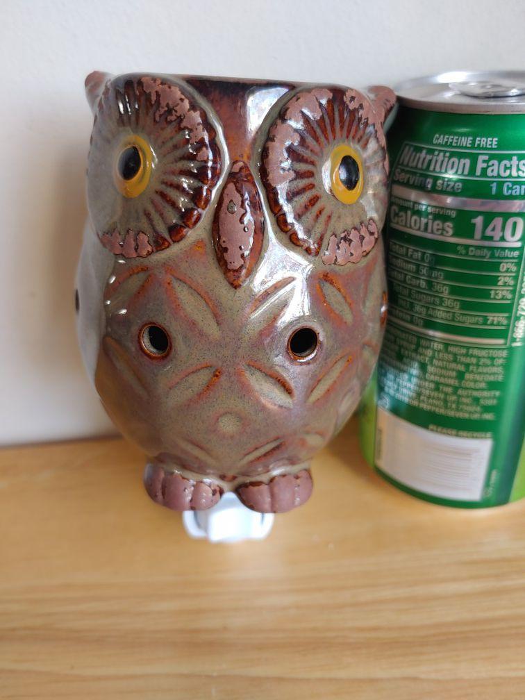 Owl Night Light Lamp Ceramic Decor Wall Plug Animal