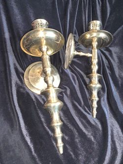 Brass wall candle holders. Thumbnail