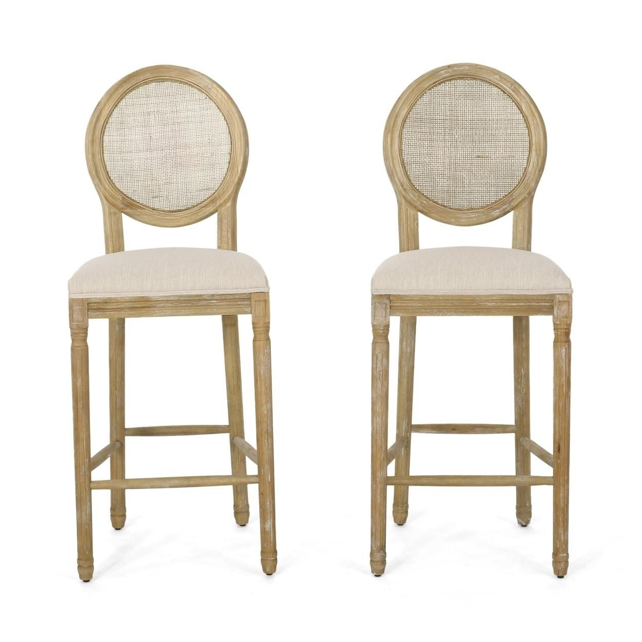 Salton French Country Wooden Barstools with Upholstered Seating (Set of 2)