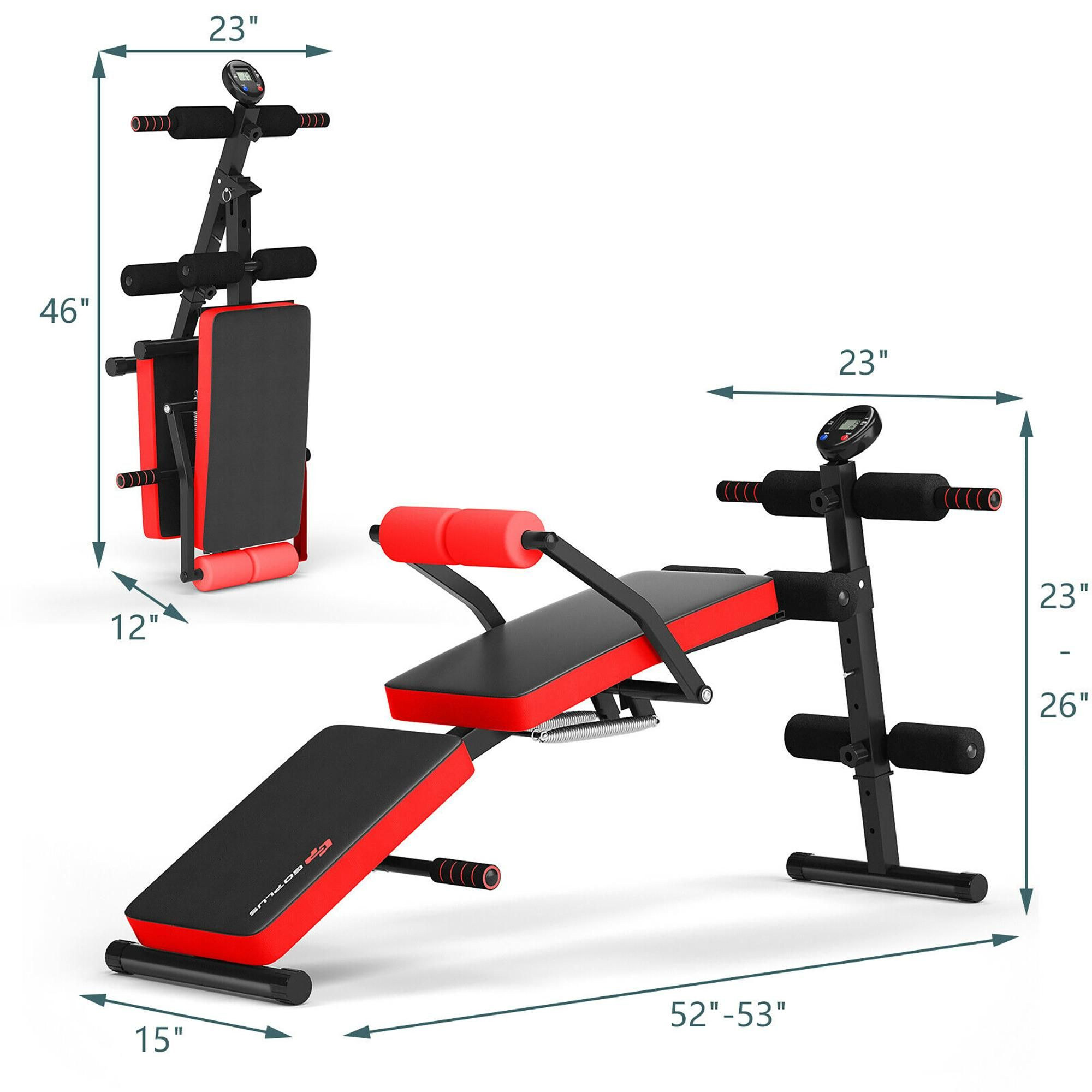 Goplus Multi-Functional Foldable Weight Bench Adjustable Sit-up Board w/ Monitor Red