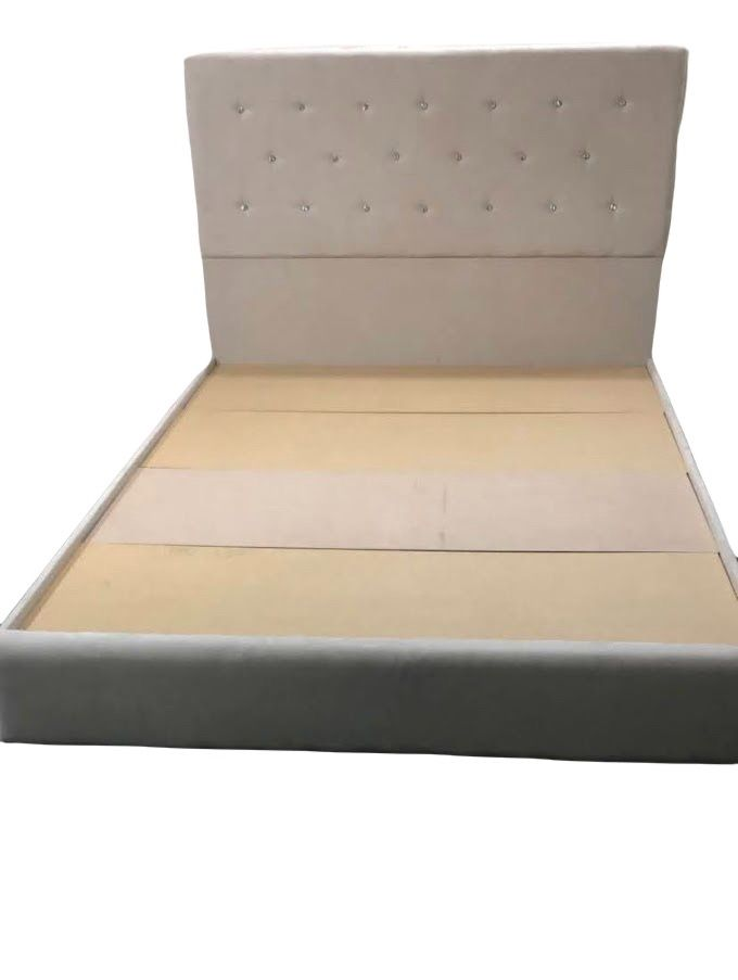 NEW Queen Bed Frame Color Beige With Crystals