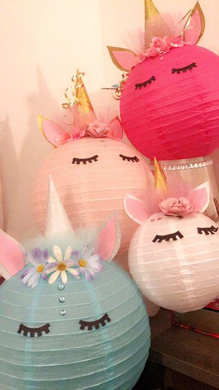 Linternas/ unicorns/ decorations/ lanterns / unicorns / niñas/ niños/ pink/ blue/ unicorn lantern