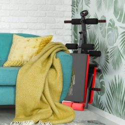 Goplus Multi-Functional Foldable Weight Bench Adjustable Sit-up Board w/ Monitor Red Thumbnail
