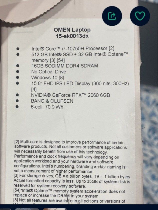 Omen 15 Gaming Laptop W/ RTX 2060!!