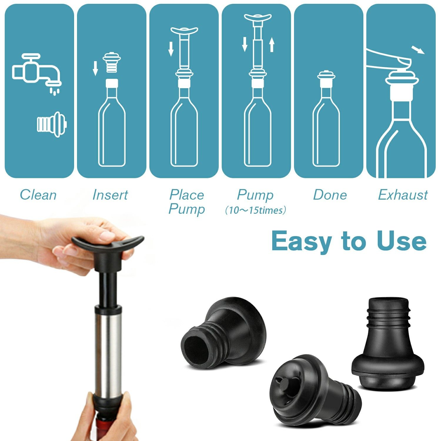 Red Wine Vacuum Saver With 4 Bottle Sealer Red wine pump