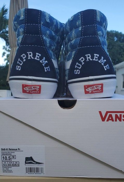 "NEW + RECEIPT   Supreme x Vans Sk8-Hi ""Hole Punch Denim Blue"" Size 10.5"