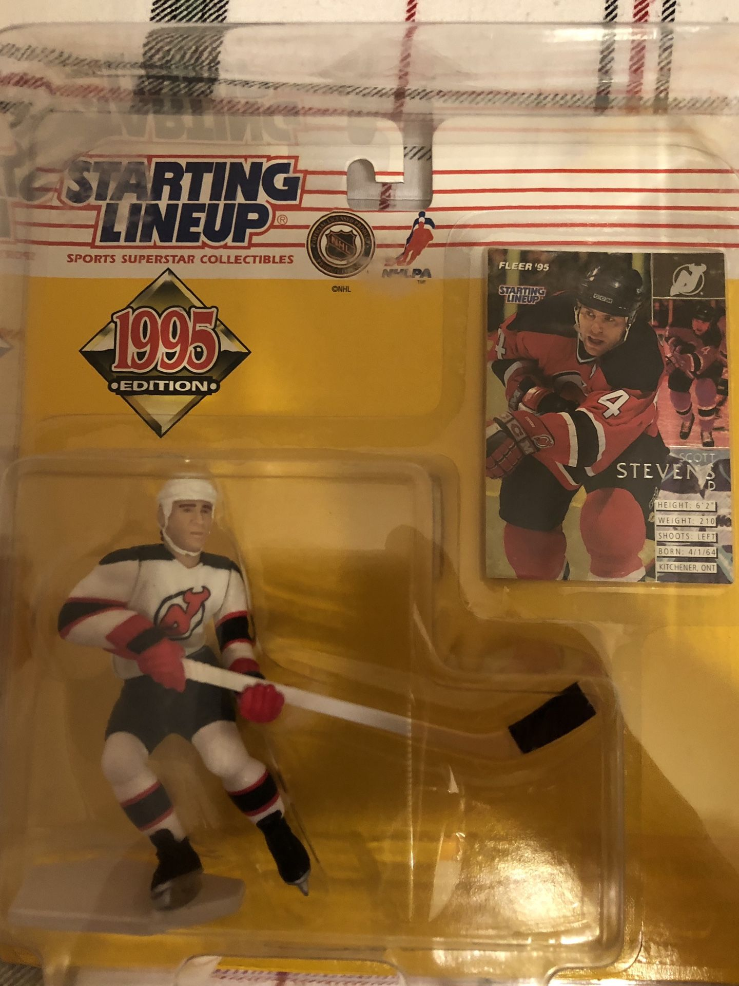 New Jersey Devils Scott Stevens 1995 starting lineup in original packaging never opened n in plastic protective case