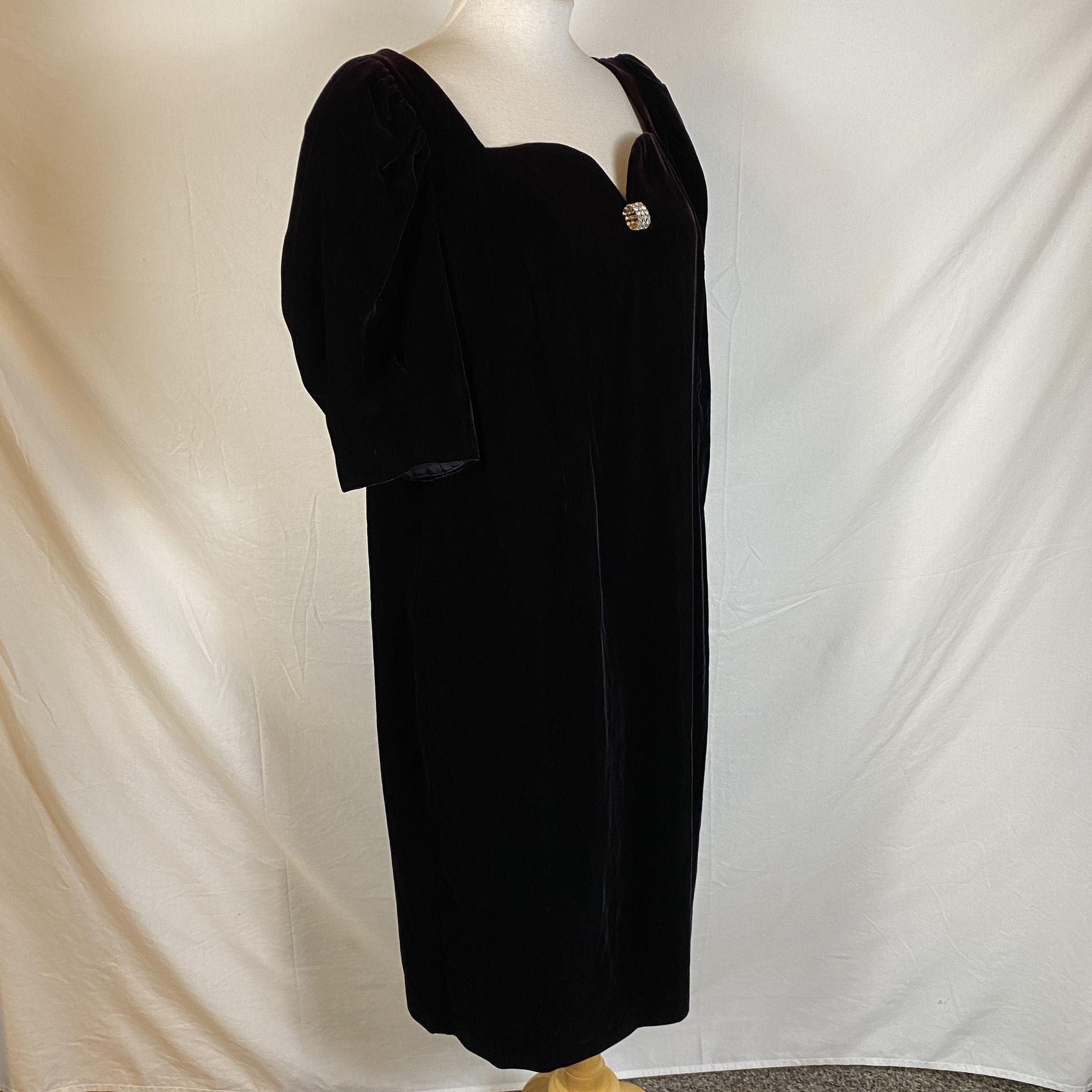 Vintage 80s Black Velvet Formal Prom Party Dress Cachet by Bari Protas Size 16