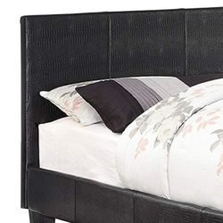Saltoro Sherpi Contemporary Twin Platform Bed with Textured Leatherette Upholstery, Black Thumbnail