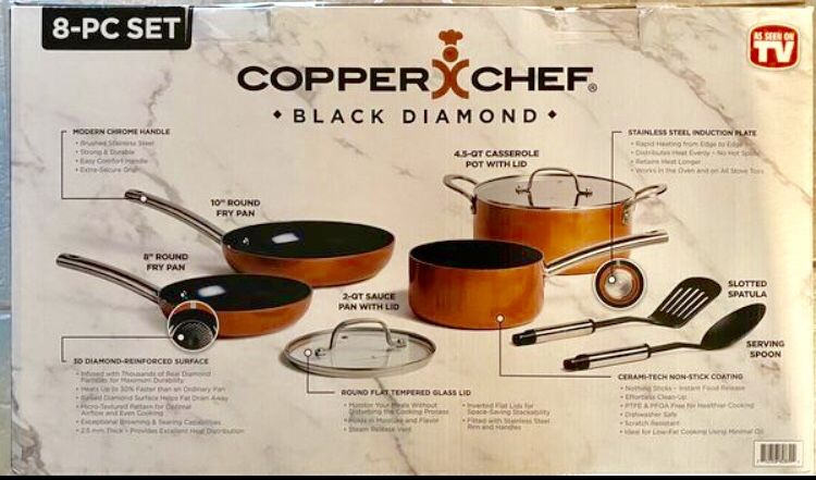 Copper Chef Cookware 8-Pc. Cookware This Aluminum and Steel with Ceramic Non-Stick Coating Cookware Set, Includes Lids, Frying and Roasting Pans A