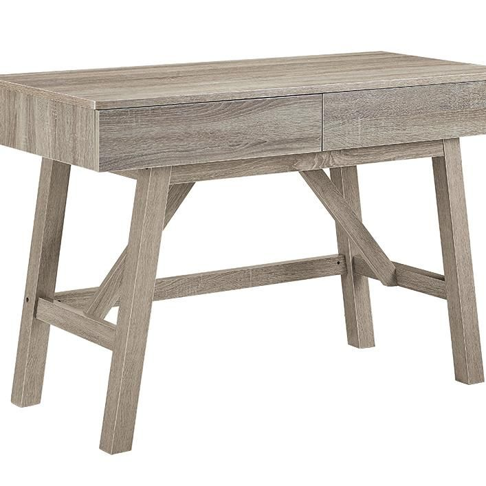Rectangular Wooden Desk with Two Storage Drawers, Gray