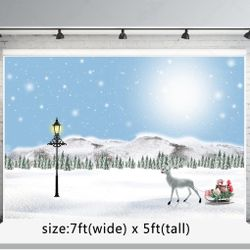 7x5ft Winter Photography Background Christmas Backdrops Snow Photo Booth Props Thumbnail