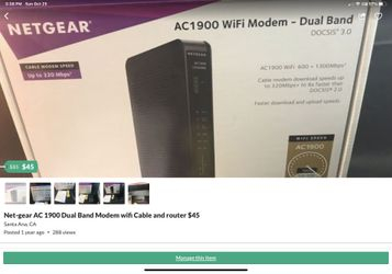 Net-gear AC 1900 Dual Band Modem wifi Cable and router $35