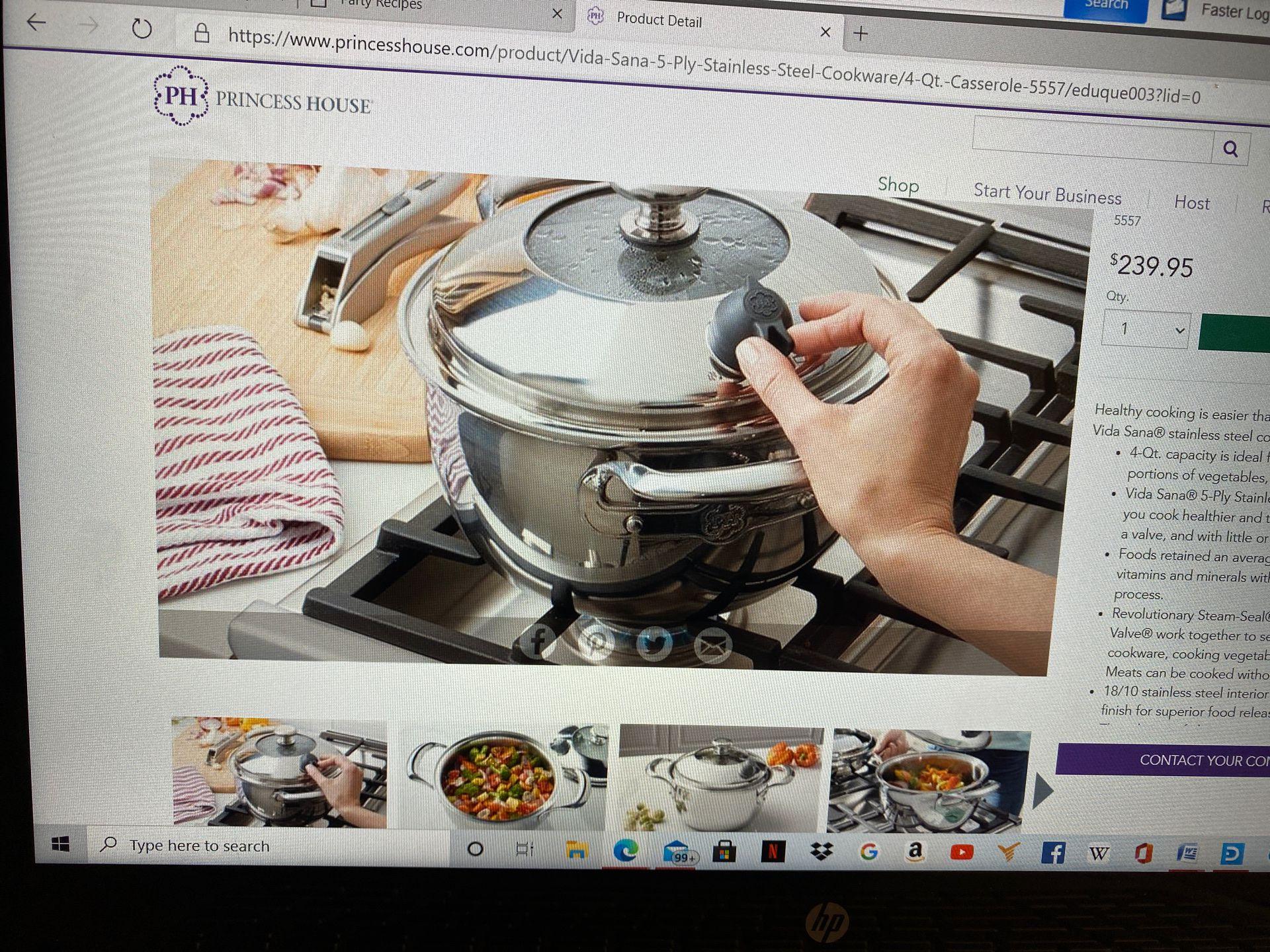 Princess House 5-play stainless Steel Cookware 4-QT casserole