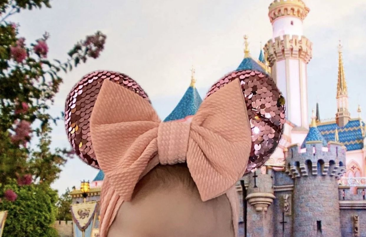 Peach Minnie Mouse Ears For Baby