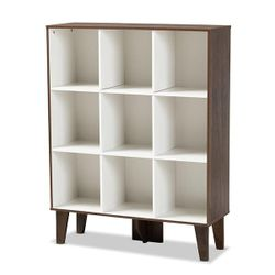 Senja Modern and Contemporary Two-Tone White and Walnut Brown Finished Wood 9-Shelf Bookcase Thumbnail