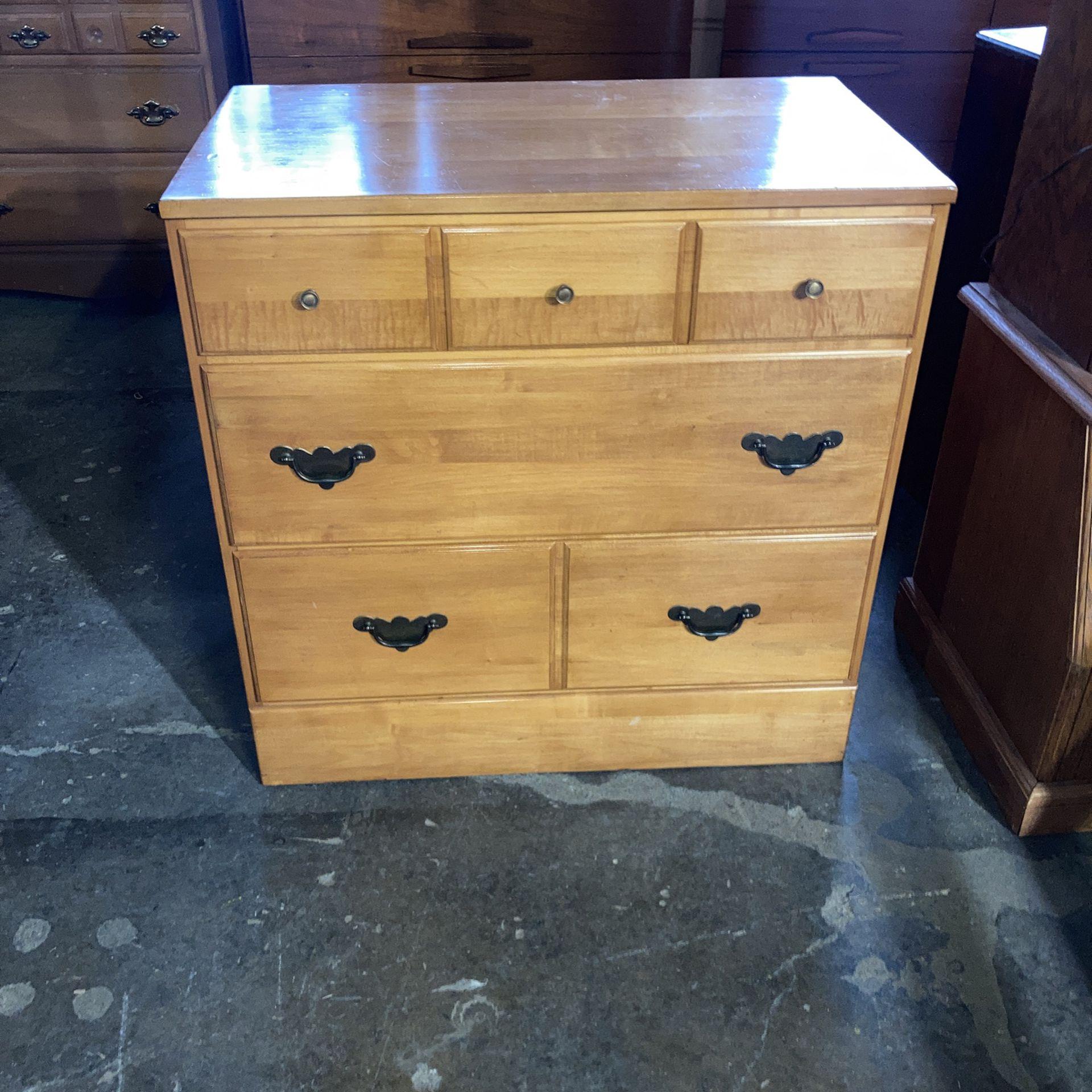 Solid maple three drawer dresser
