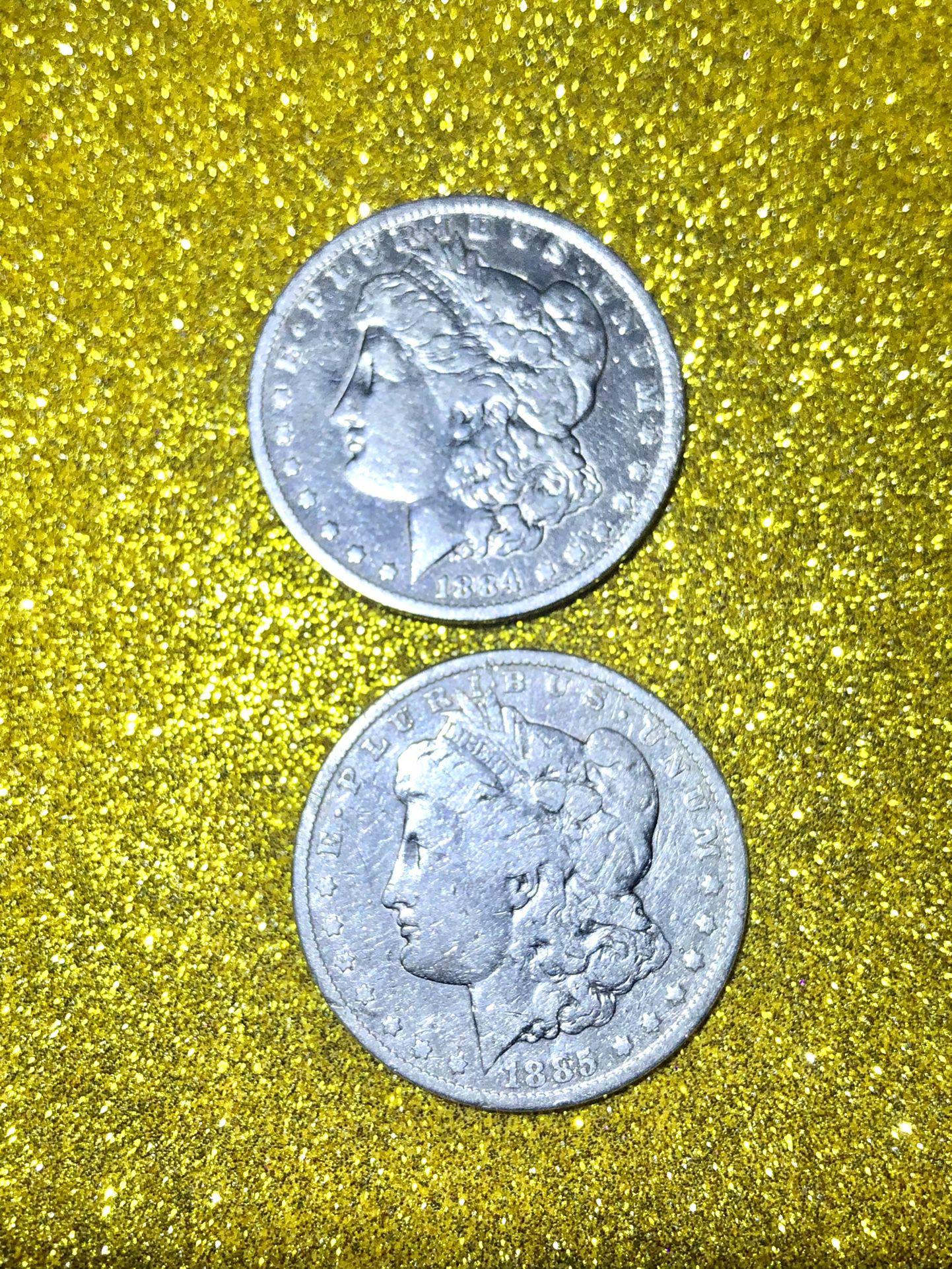  1884 and 1885 Silver Morgan Dollar Coins Collectibles 