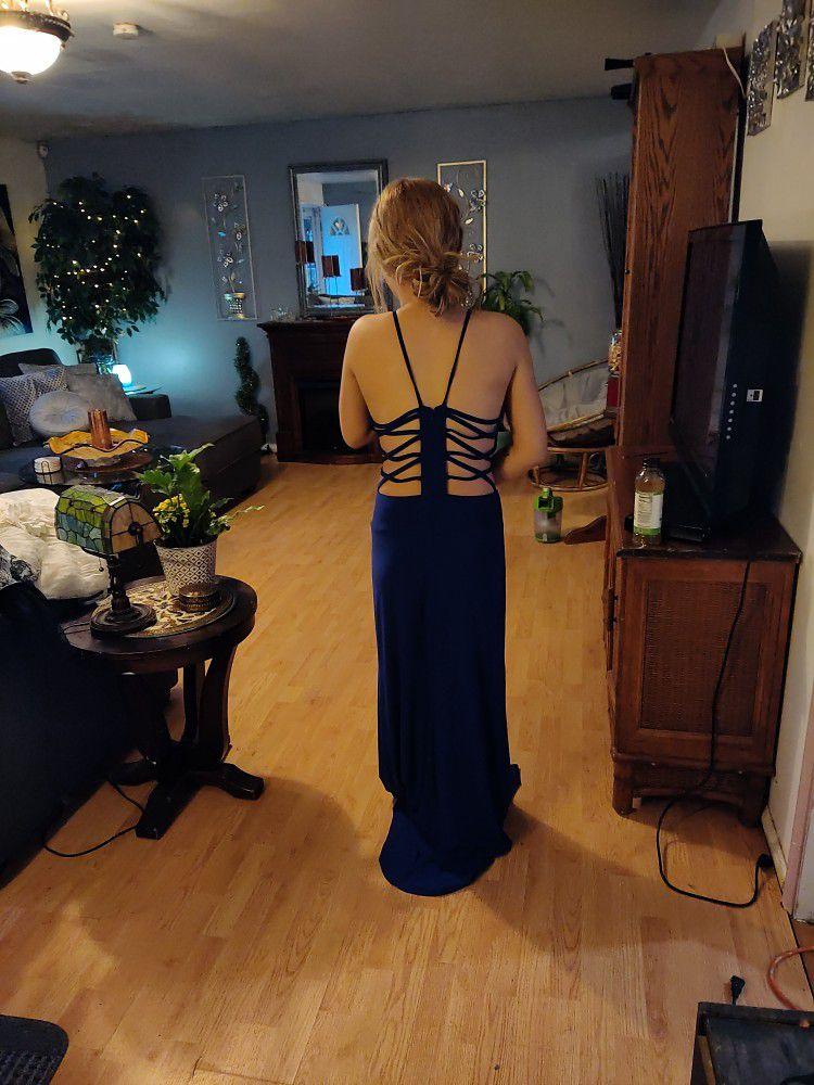 cobalt blue prom dress full length
