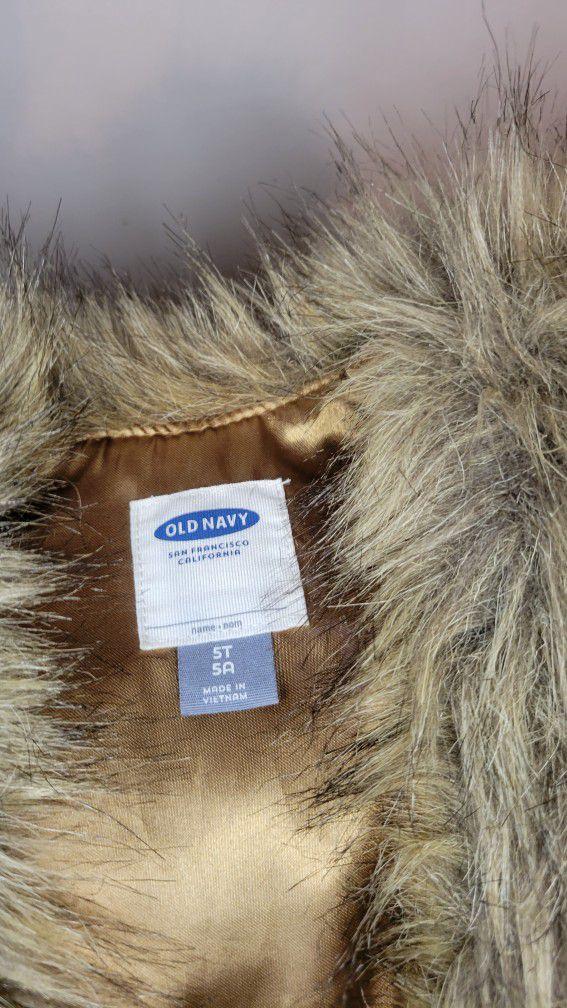 Faux Fur Vest. Size 5T OLD NAVY