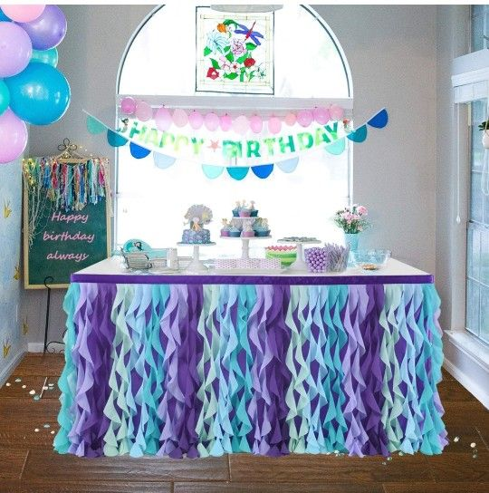 Mermaid Curly Willow Table Skirting for Baby Shower Purple 9ftTaffeta Table Skirt Tutu Tulle Table Skirt for Round or Rectangle Table