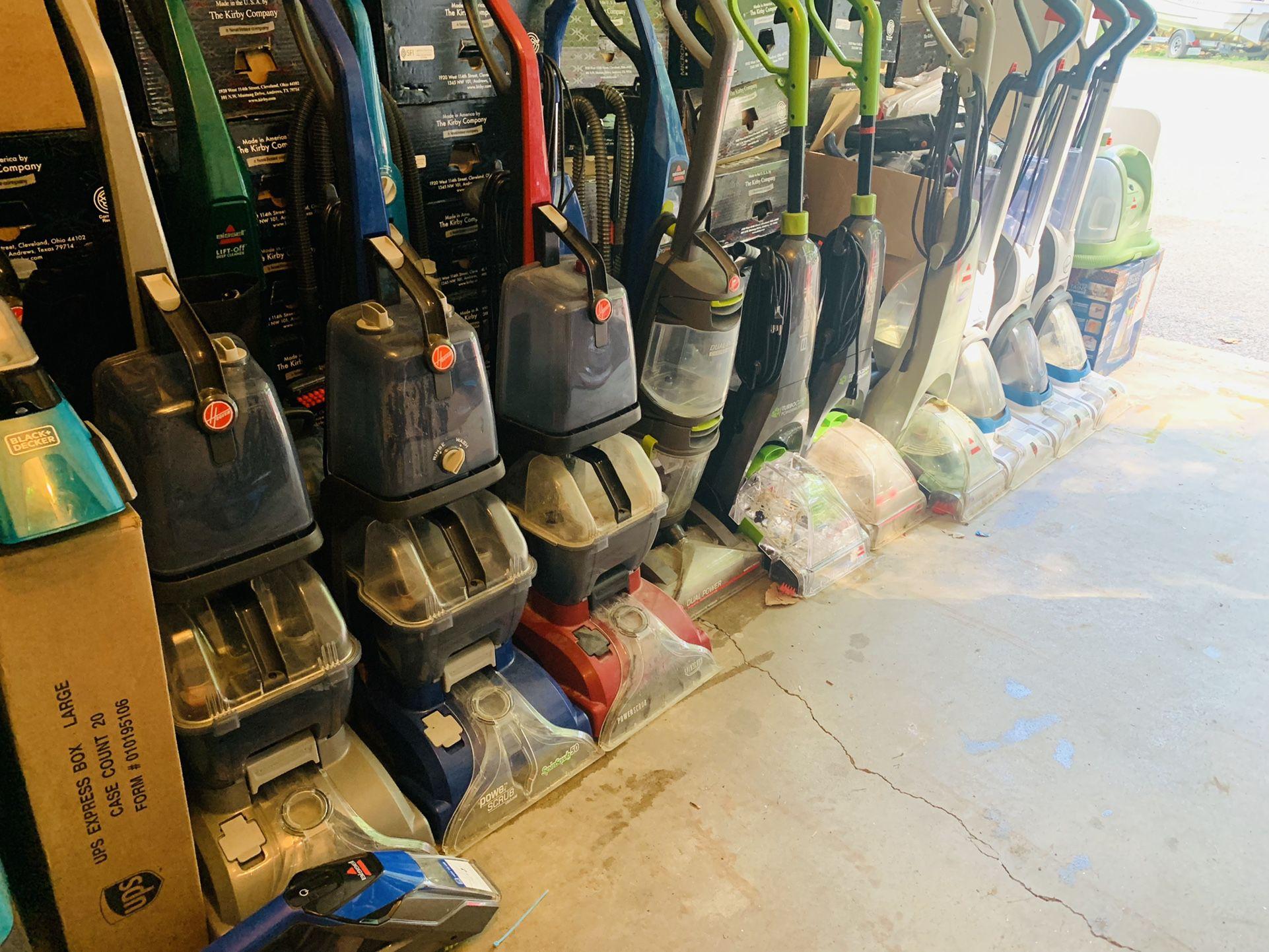 Working carpet shampooers