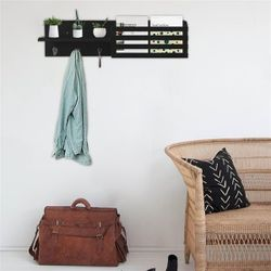Wall Shelf and Mail Holder with 3 Hooks, 24-Inch by 6-Inch, Black Thumbnail