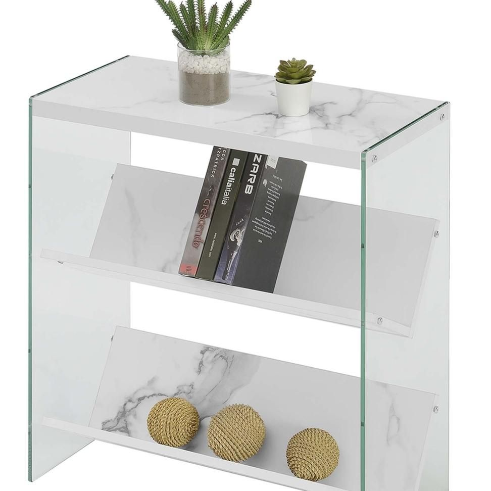 Soho Bookcase, White Faux Marble