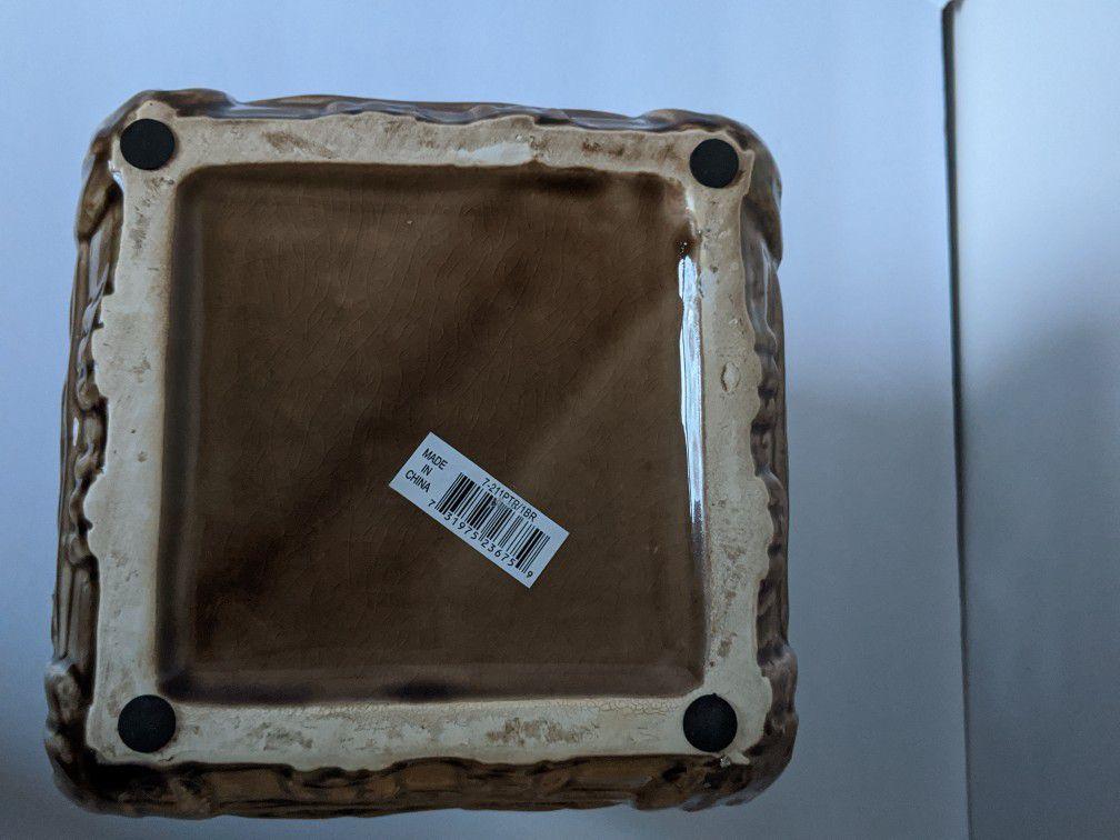 Owl Lantern, Ceramic Glass Piller Candle Holder, New