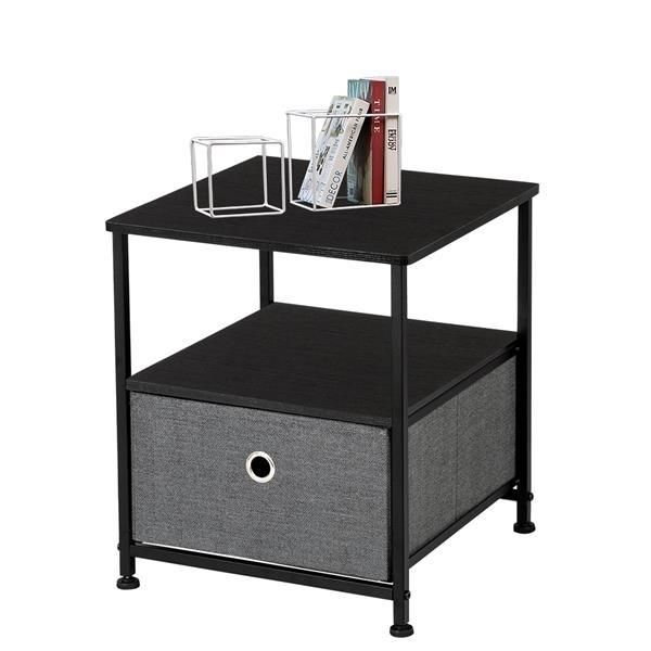 Nightstand 1-Drawer Shelf Storage- Bedside Furniture & Accent End Table Chest For Home, Bedroom, Office, College Dorm,