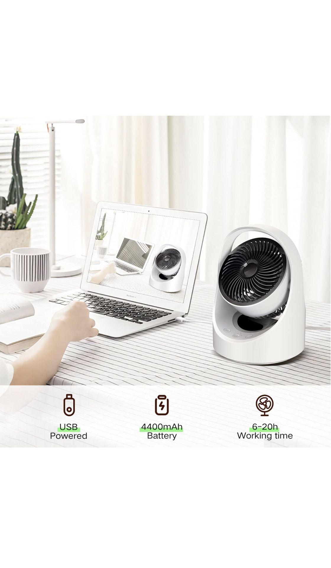 Air Circulator Fan Rechargeable Desk Fan Portable Oscillating Cordless Fan