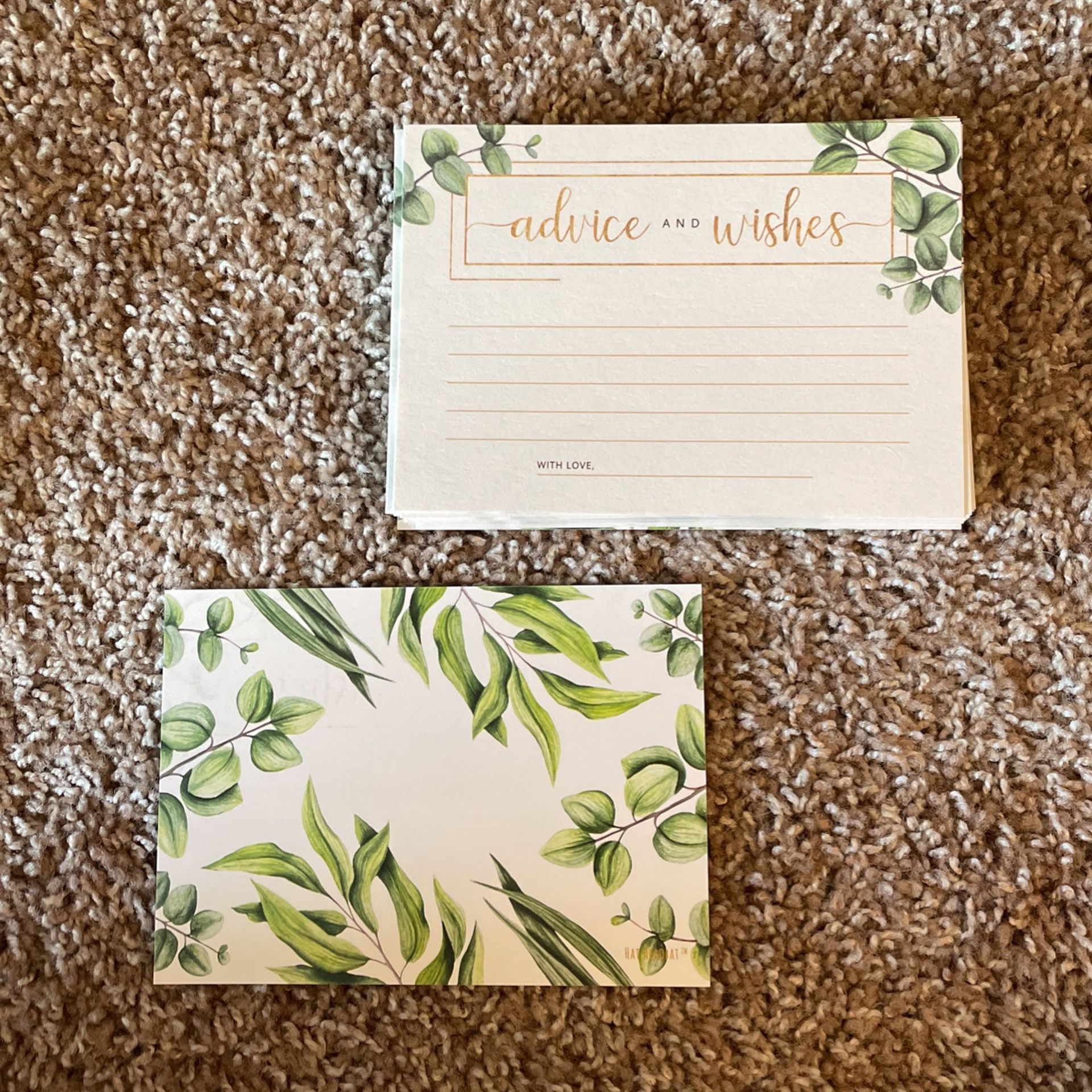 Eucalyptus themed gold and white advice and wishes wedding cards