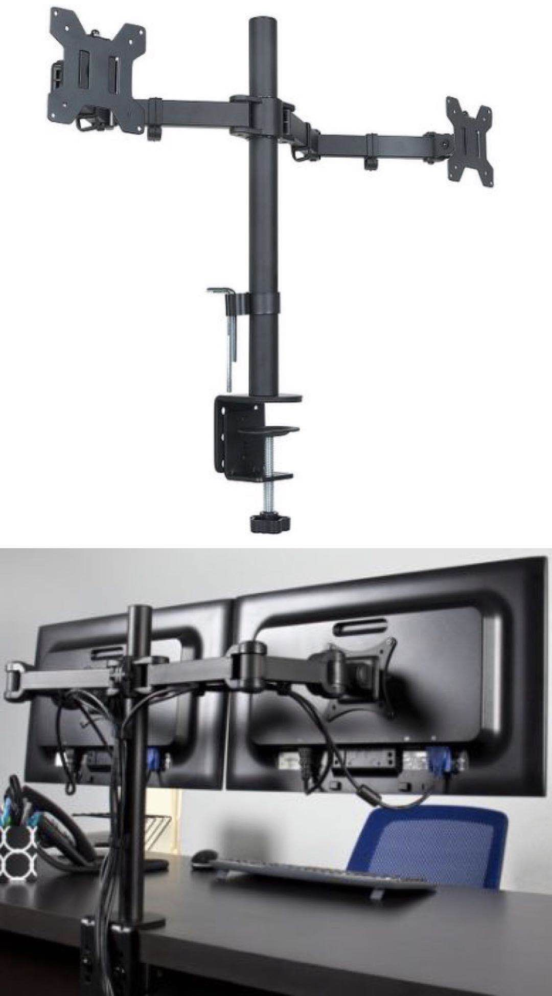New in box Universal 10 to 24 inches dual computer screen monitor holder stand clamp mount