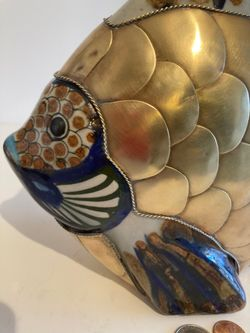 """Vintage Bras and Porcelain Fish, Angel Fish, Large Size, Heavy Duty, 11"""" x 9 1/2"""" Quality, Home Decor, Table Display, Shelf Display, Really Nice Thumbnail"""