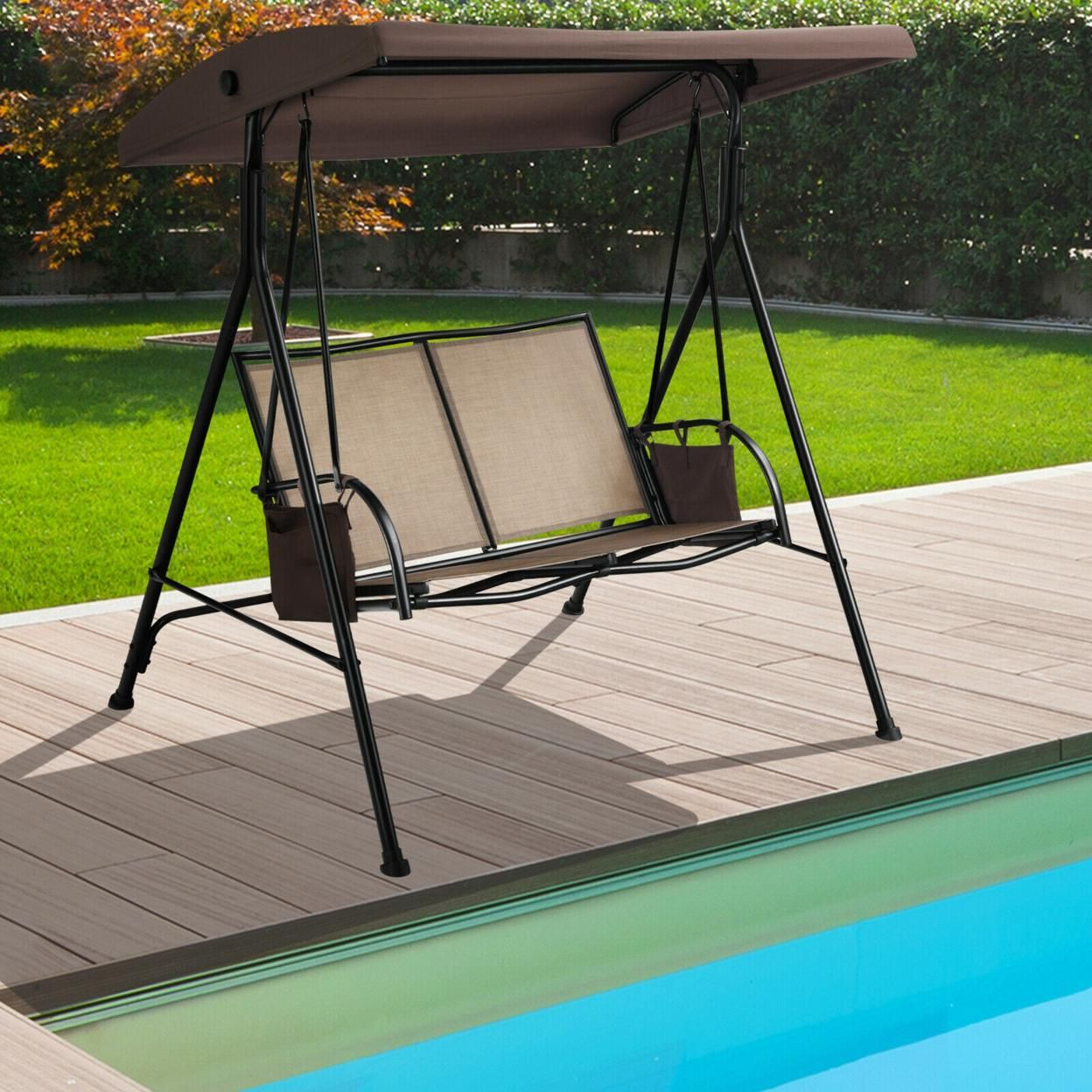 Gymax 2-Person Adjustable Canopy Swing Chair Patio Outdoor w/ 2 Storage Pockets