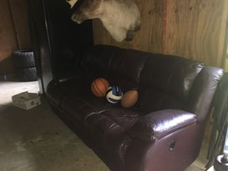 Real leather sofa with recliner on each end Thumbnail