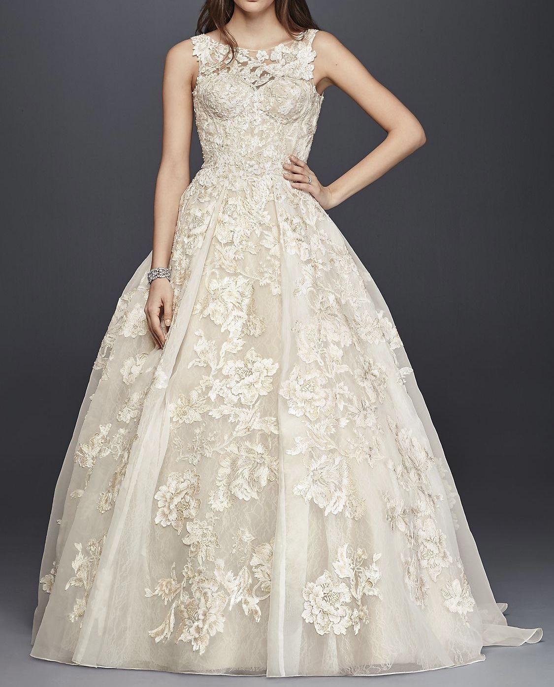 Oleg Cassini High Neck Tank Lace Wedding Dress
