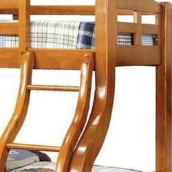 Saltoro Sherpi Curved Design Twin Over Full Bed with Attached Ladder, Oak Brown Thumbnail