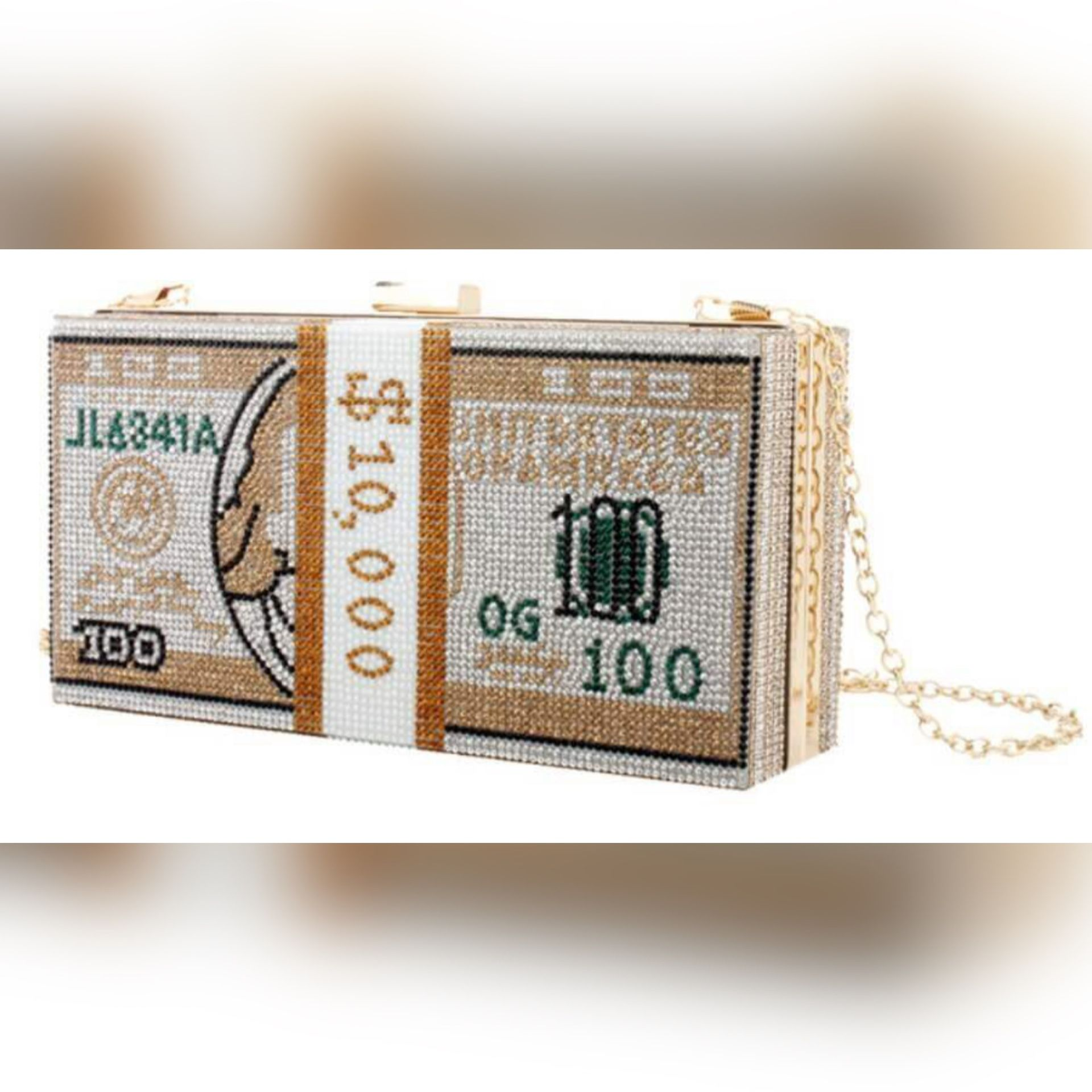 Women's Gold Bedazzled & Pearls Crossbody/Clutch Gold Chain Money Bag