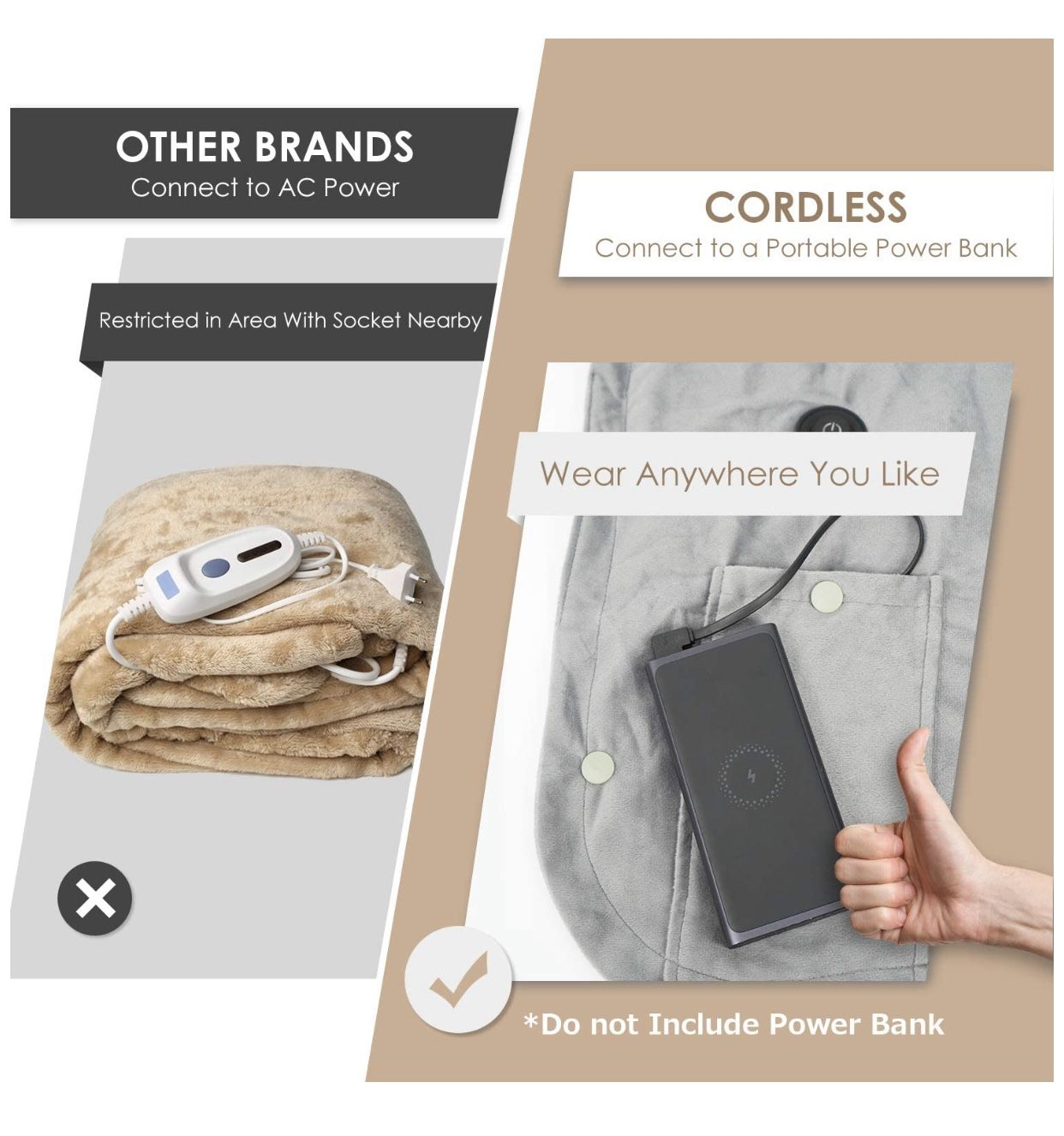 Wearable Electric Blanket, Portable Poncho Wrap, Cordless Rechargeable Heated Shawl Blanket, Super Soft & Warm Fleece, Home Office & Travel Use, Machi
