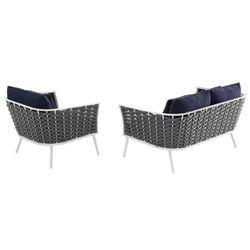 Stance 2 Piece Outdoor Patio Aluminum Sectional Sofa Set, White Navy Thumbnail