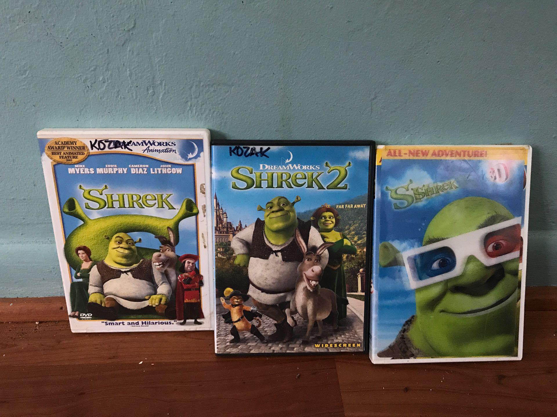 Shrek one, two and three