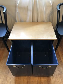 PBTeen inspired small table with 2 rolling storage bins Thumbnail