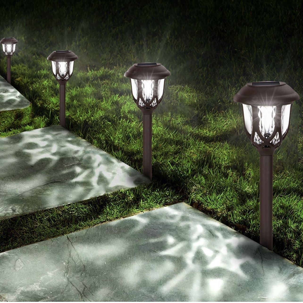 Solar Lights Outdoor Decorative,10 Packs Solar Pathway Lights,Powered Landscape Lighting,Waterproof Solar Powered Garden Yard Lights for Walkway Sidew