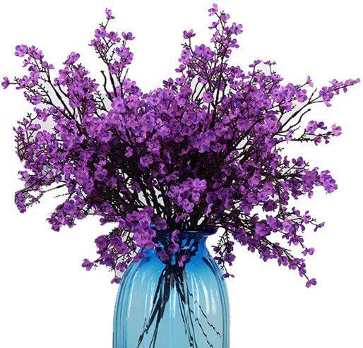 Cloth Artificial Flowers 6 Bundle European, Color: Purple-6pcs