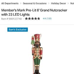 Brand New In The Box 6 Foot Tall Nutcracker With Led Lights Thumbnail