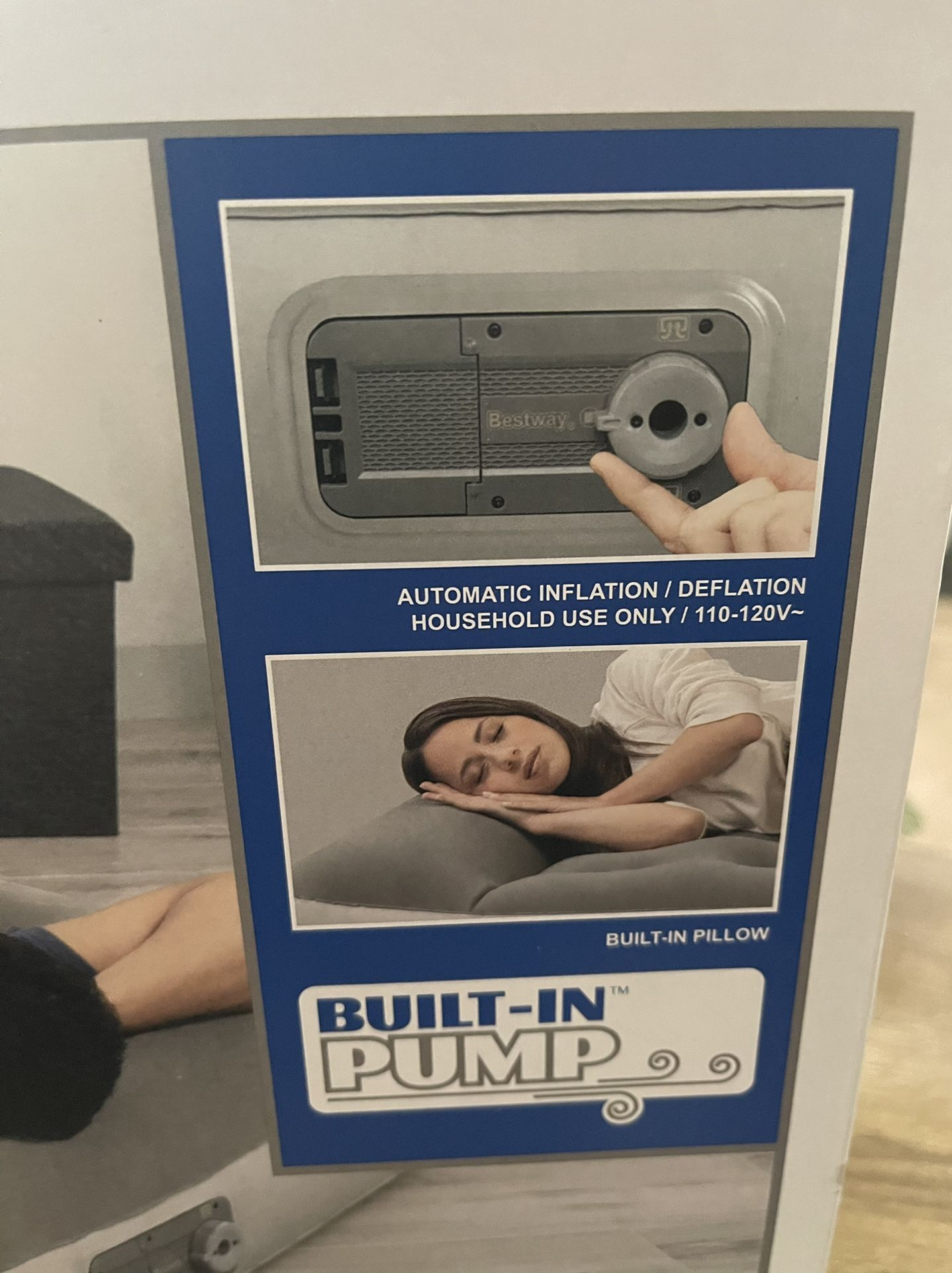 """12"""" Air Mattress with built-in AC Pump ! Full Size new !"""