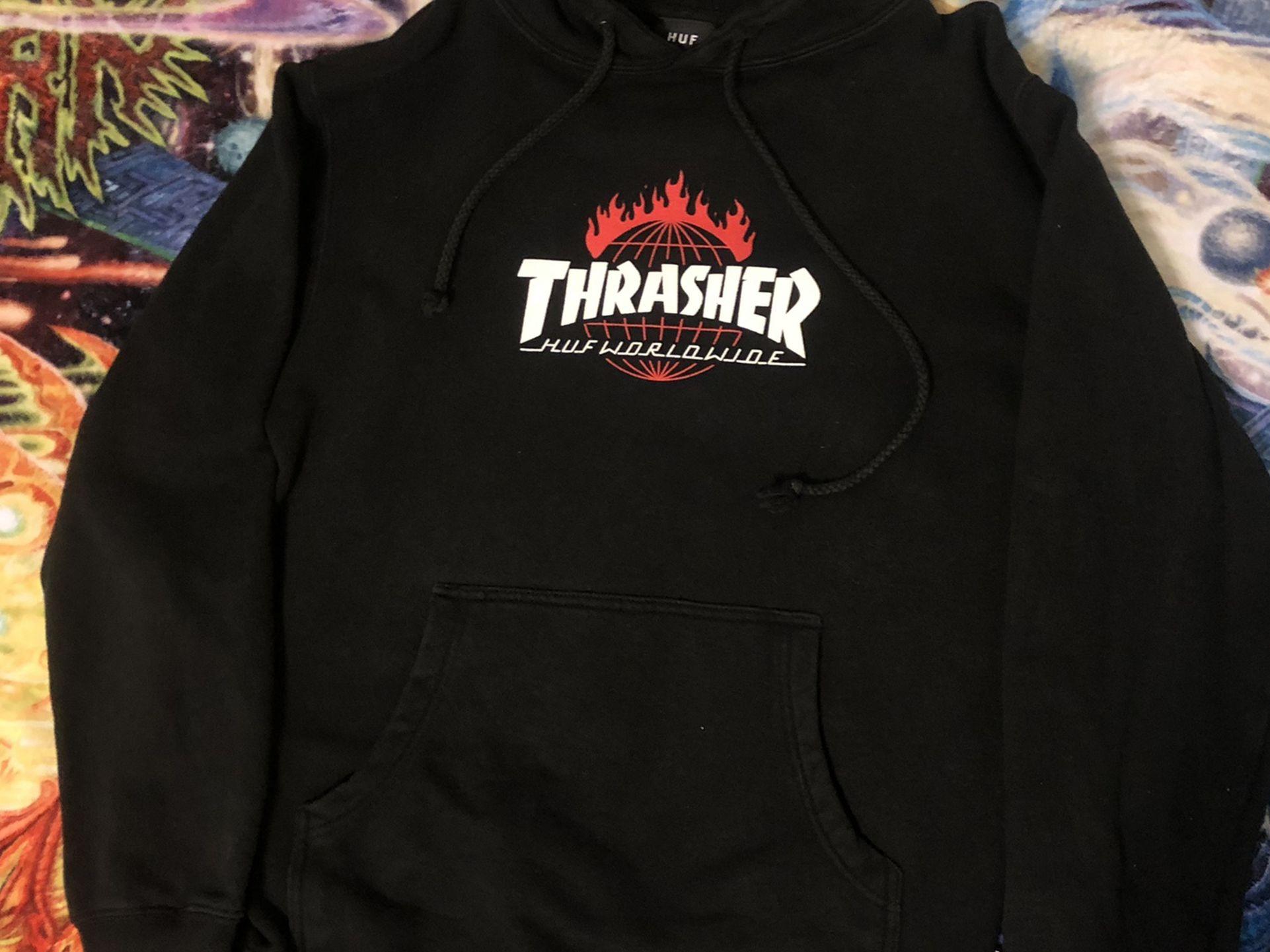 HUF X Thrasher Worldwide Hoodie Size Small Skate Magazine