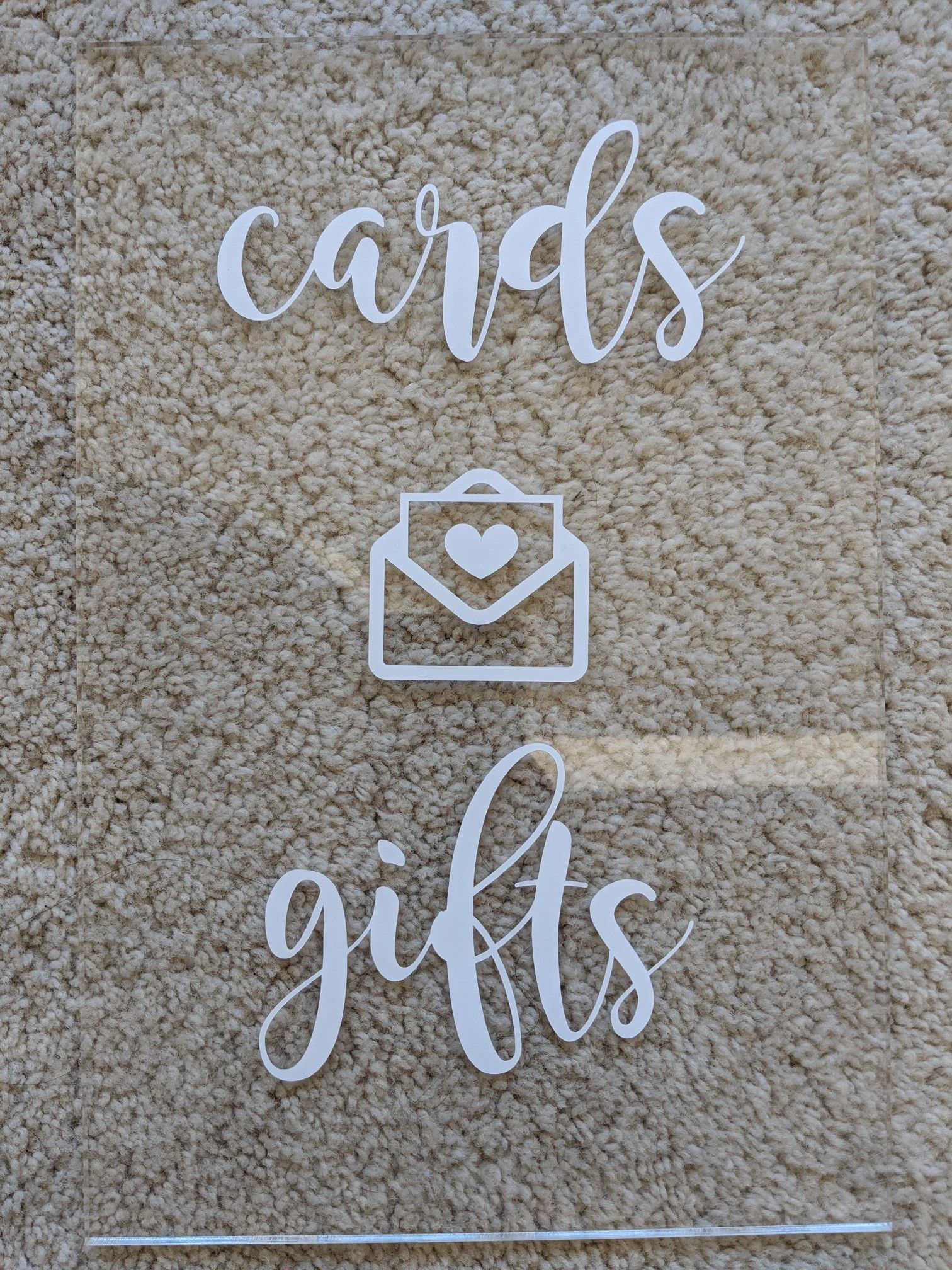 Acrylic Gift Sign w/Vinyl Lettering