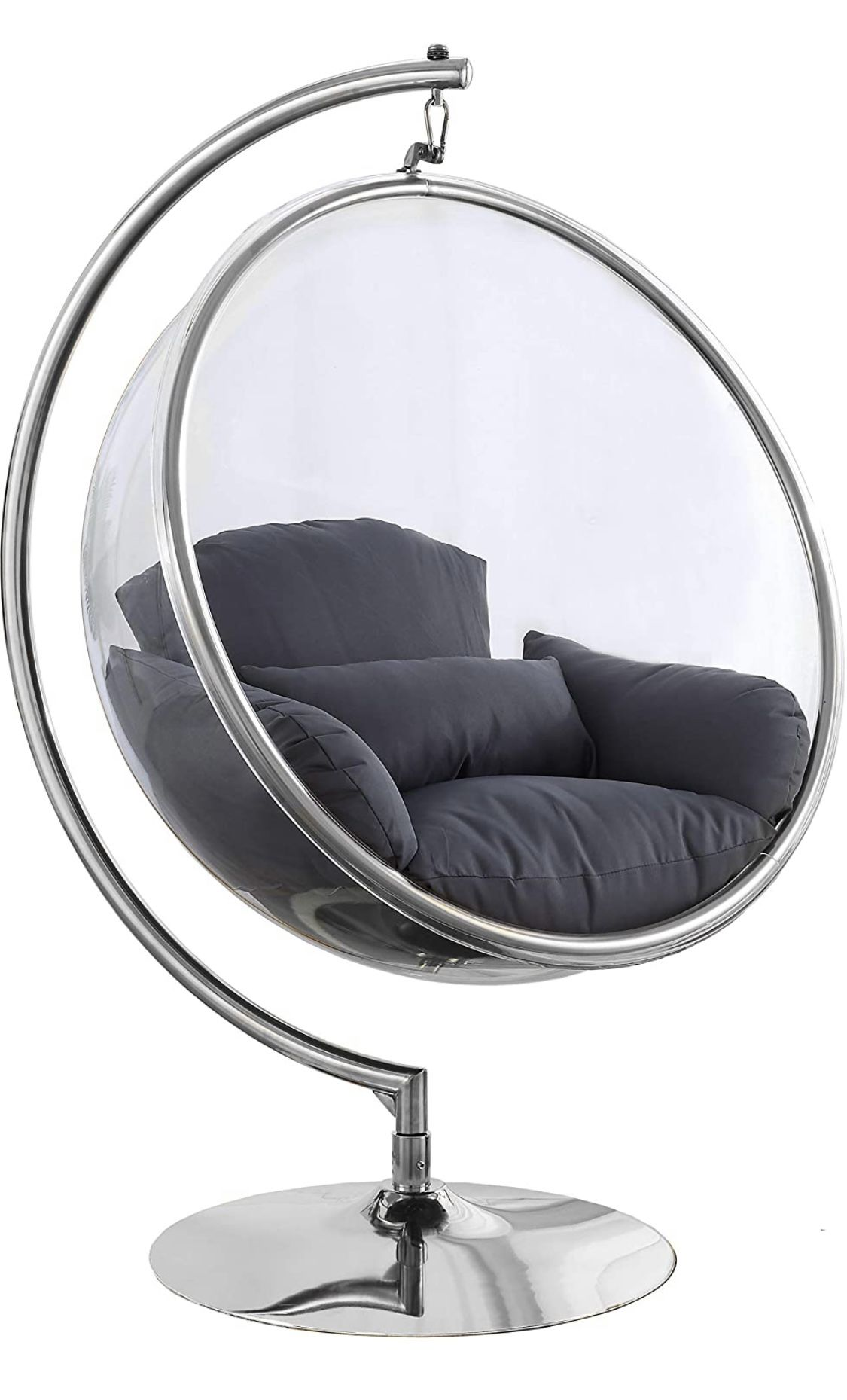 Hanging Bubble Chair Polished Chrome With Stand And Cushion Pillows